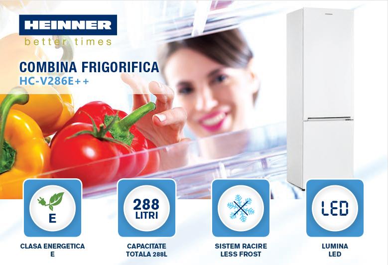 descriere combina frigorifica heinner HC-V286E++