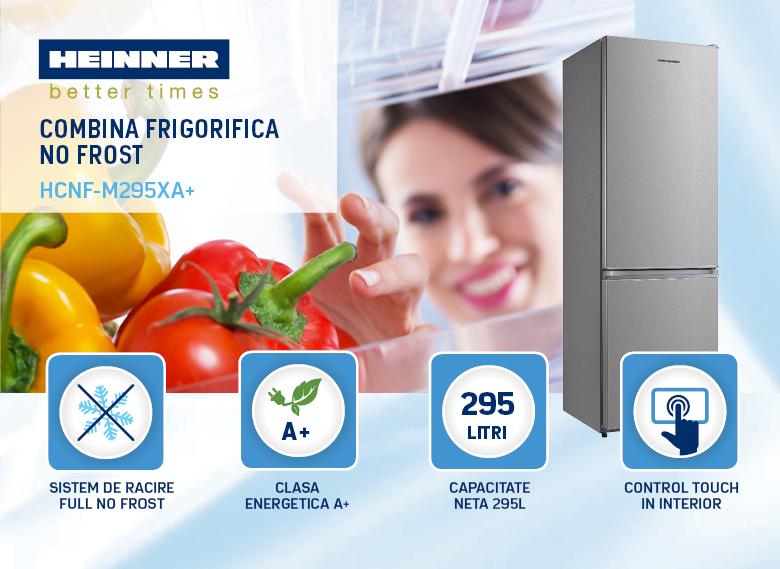descriere combina frigorifica heinner HCNF-M295XA+