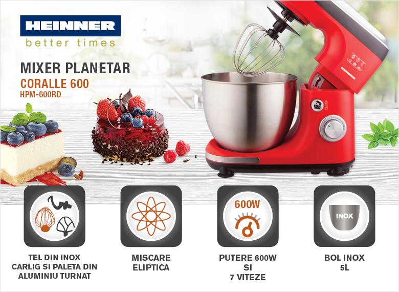 descriere Mixer planetar Heinner HPM-600RD