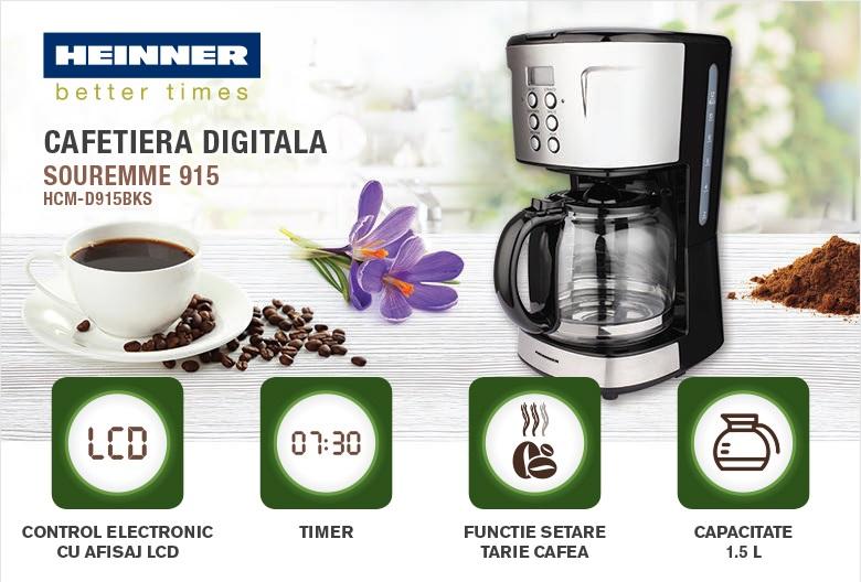 descriere cafetiera Heinner HCM-D915BKS