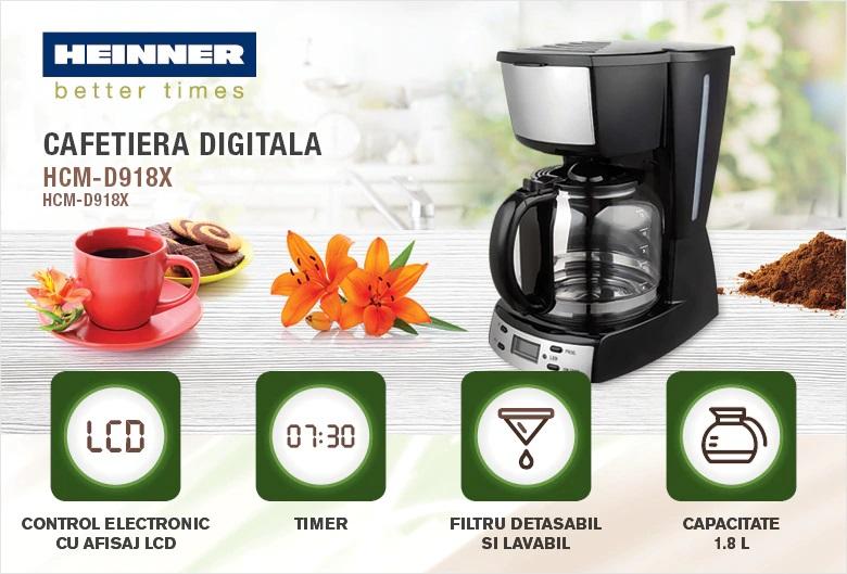 descriere cafetiera Heinner HCM-D918X inox