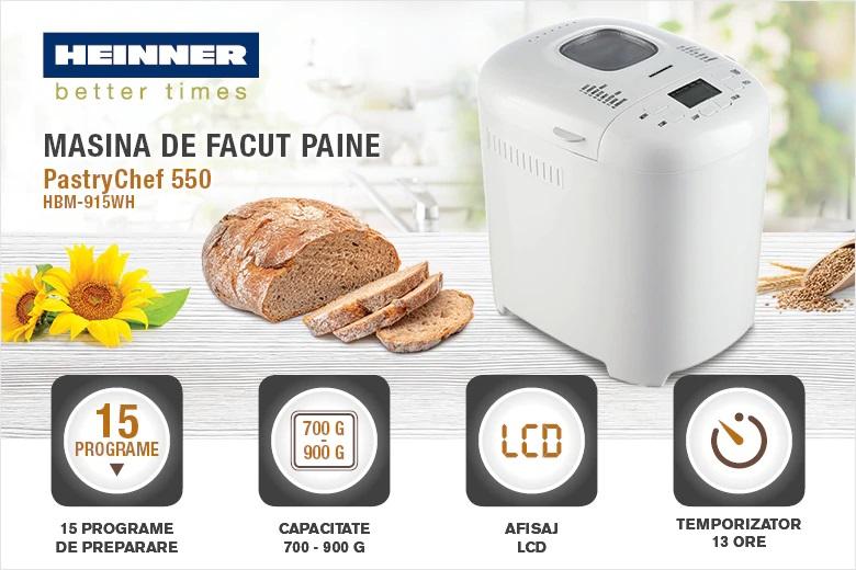 descriere masina de facut paine Heinner PastryChef 550 HBM-915WH