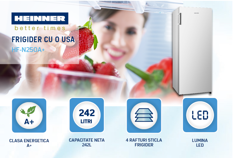descriere frigider heinner hf-v250a+