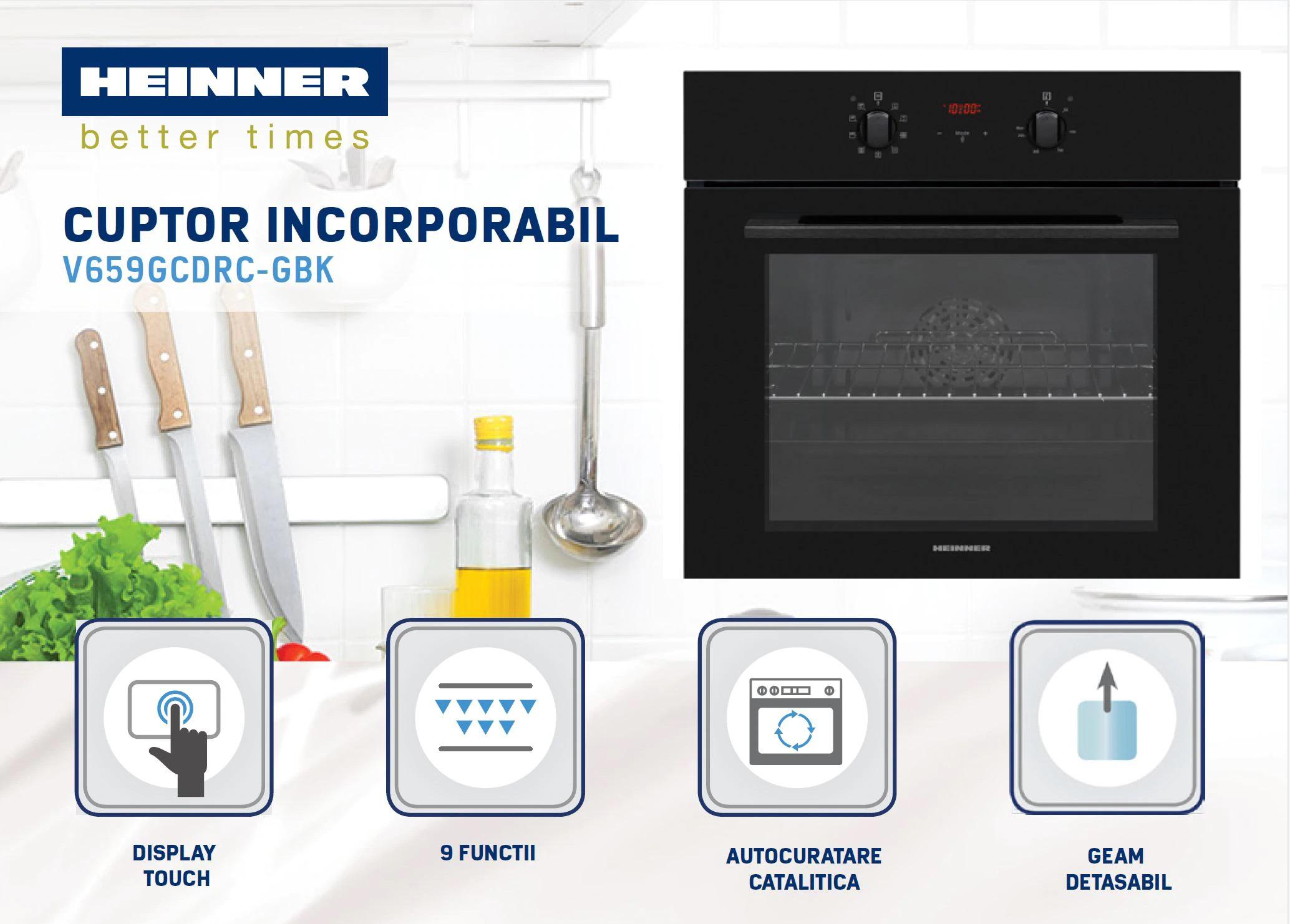 descriere cuptor incorporabil Heinner HBO-V659GCDRC-GBK